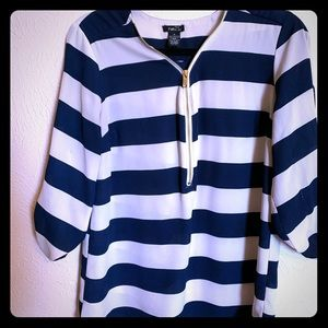 Navy and white Rue 21 flowy shirt